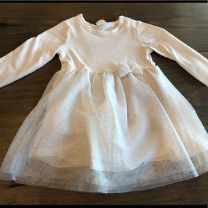 H&M sparkling creamy white dress. Size 6-9 months